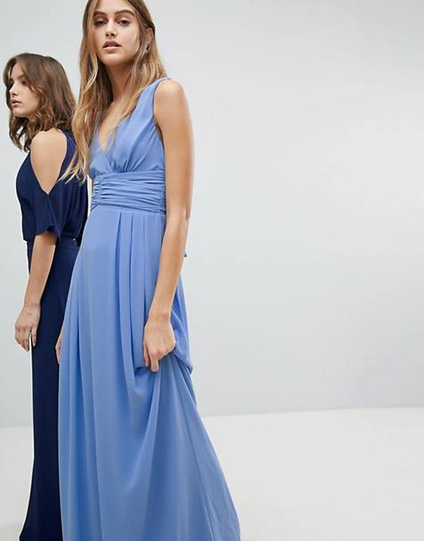 TFNC Wrap Front Maxi Bridesmaid Dress With Tie Back
