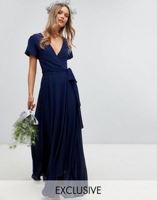 TFNC Wrap Maxi Bridesmaid Dress With Tie Detail And Puff Sleeves