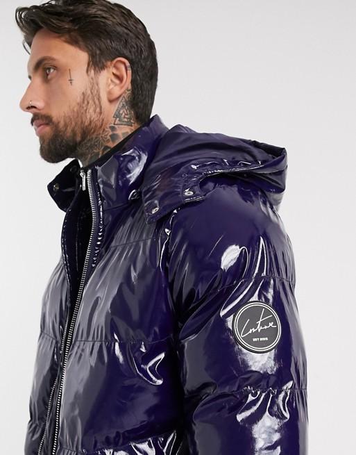 The Couture Club – Blå, vadderad jacka i vinyl