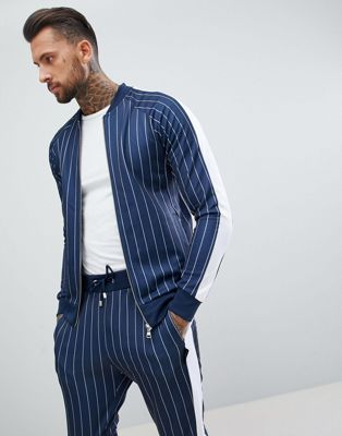 The Couture Club muscle fit track top in pinstripe with side stripe