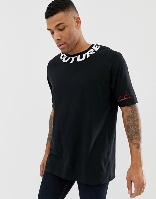The Couture Club - Oversized T-shirt met logo langs de hals in zwart