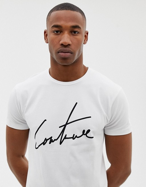 The Couture Club – Vit t-shirt med stor logga
