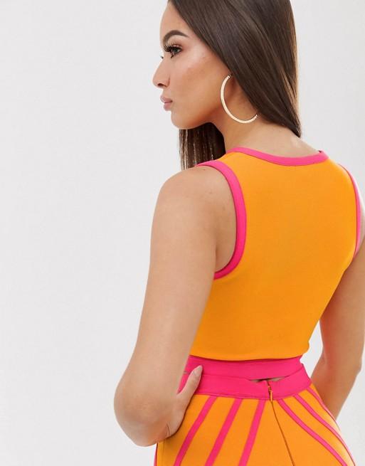 En Et Bandage The GirlcodeHaut Orange Style Rose Court Tulle UpqSGzMV