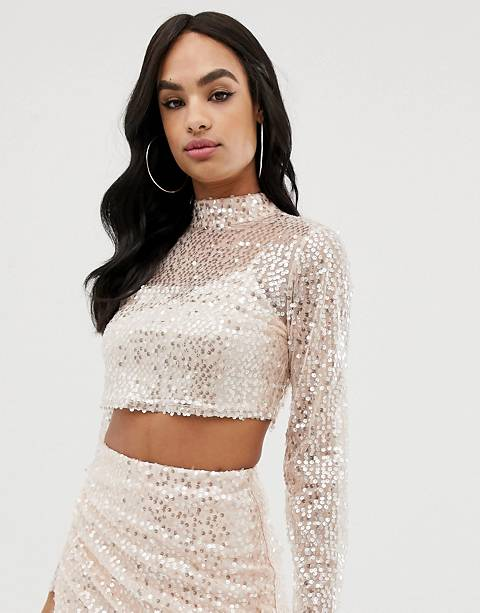 The Girlcode sequin high neck top in pink two-piece