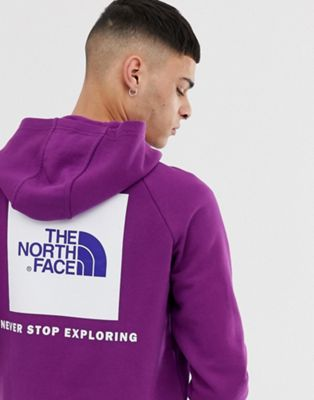 Image 1 sur The North Face - Hoodie à manches raglan à logo carré rouge - Violet