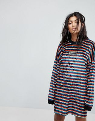 The Ragged Priest Almost Famous Rainbow Velvet Dress
