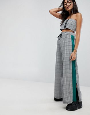 The Ragged Priest Wide Leg Joggers In Check