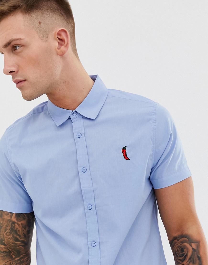 Threadbare - Chemise à manches courtes et motif piment brodé-Bleu