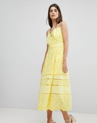 Three Floor Lace Midi Dress