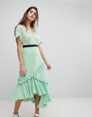 Three Floor Midi Dress With Lace Bodice