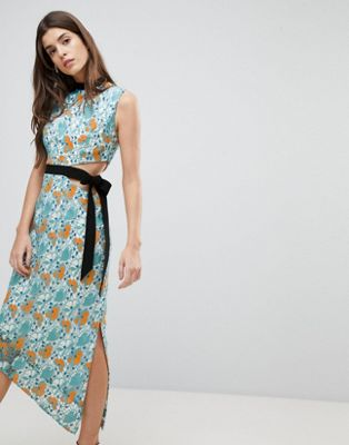 Three Floor Midi Dress With Tie Detail