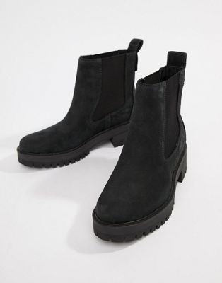 Timberland Courmayeur Valley Black Leather Chelsea Pull On Ankle Boots