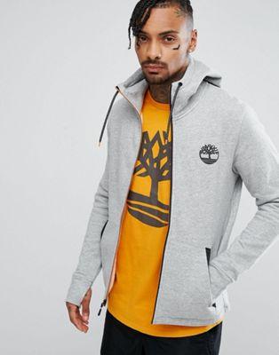 Timberland Slim Fit Full Zip Hoodie Reflective Hood Tree Logo in Grey Marl