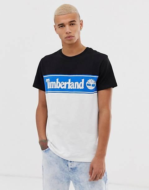 Timberland - T-shirt ras de cou en coupé-cousu avec imprimé - Noir/bleu/blanc