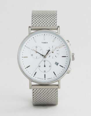 Timex Fairfield Chronograph 41mm Mesh Watch In Silver