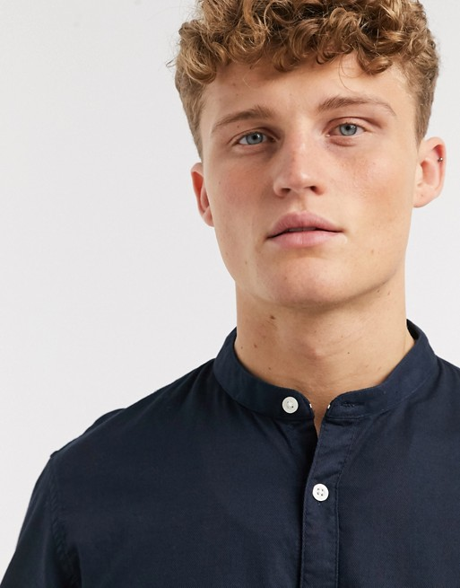 Tom Tailor - Blå skjorte med grandad-krave