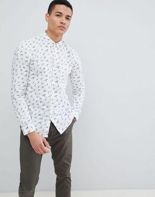 Bild 1 av Tom Tailor – Långärmad skjorta med smal passform och fågelmönster