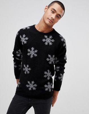 Tom Tailor - Pull de Noël motif flocons de neige - Noir