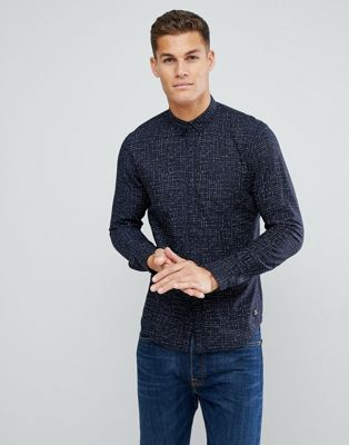 Tom Tailor Shirt With Line Print In Navy