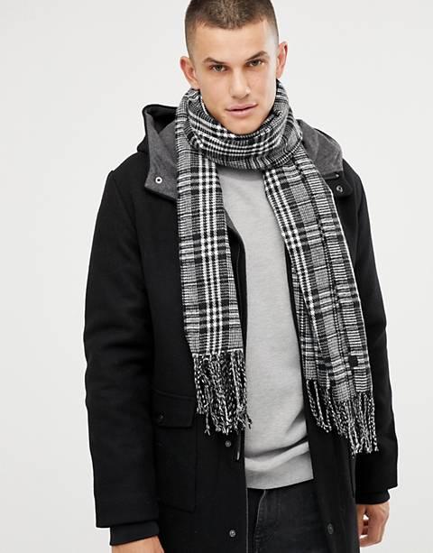 Tom Tailor – Svart, rutig scarf i oversize-modell