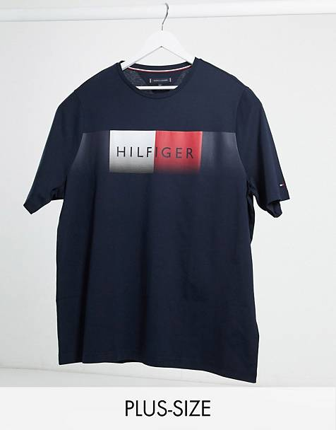 Tommy Hilfiger - big and Tall marineblå t-shirt med falmet logo på bryst