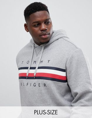 Tommy Hilfiger Big & Tall Icon stripe logo print hoodie in gray marl