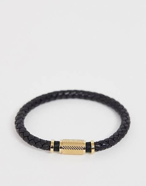 Tommy Hilfiger braided bracelet in black & gold
