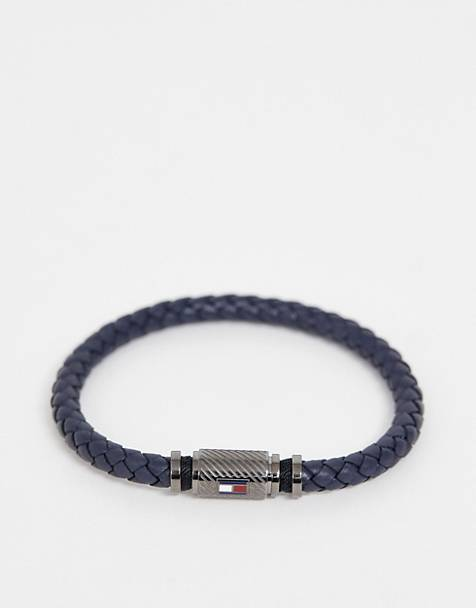 Tommy Hilfiger braided bracelet in navy & gunmetal