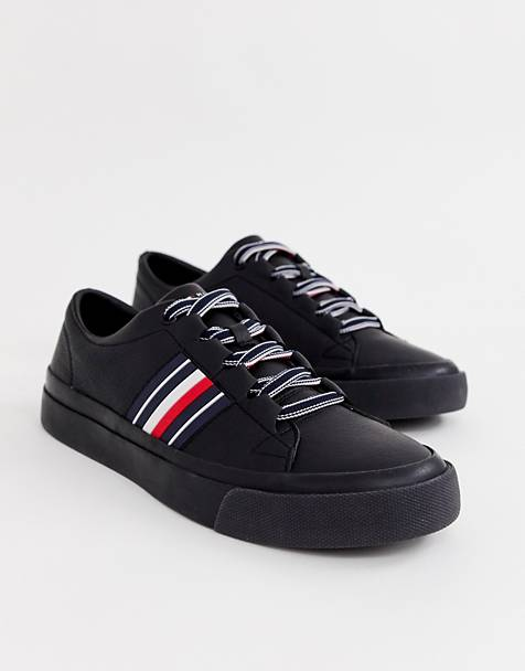 Tommy Hilfiger corporate stripe leather low sneaker in black