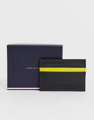 Image 1 of Tommy Hilfiger credit card holder with yellow pop colour in black