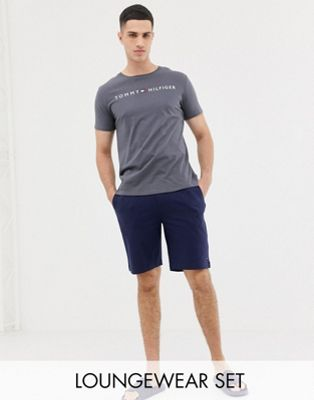 Tommy Hilfiger crew neck t-shirt and short pyjama set in navy and gray