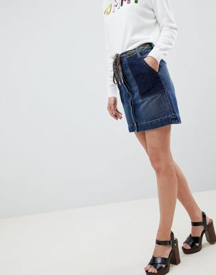 Tommy Hilfiger Denim Skirt With Hiker Lace Belt