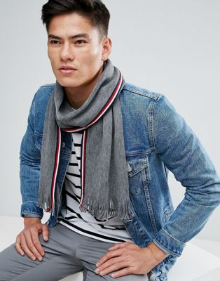 Tommy Hilfiger Edge Stripe Scarf Raschel in Grey Heather