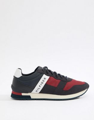 Tommy Hilfiger Icon Colours Logo Mix Materials Runner Trainers in Red/White/Blue