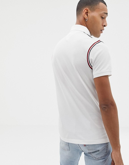 f54d930b Tommy Hilfiger icon tape trim pique polo slim fit in white | ASOS