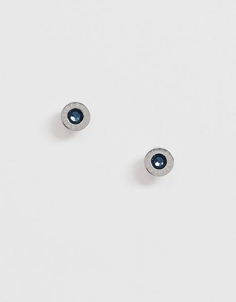 Tommy Hilfiger logo stud earrings in silver with blue stone