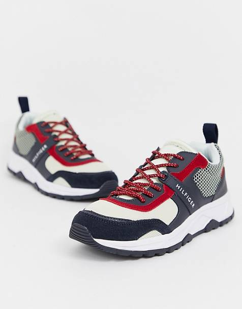 Tommy Hilfiger material mix lightweight icon color block sneaker in red/white/blue