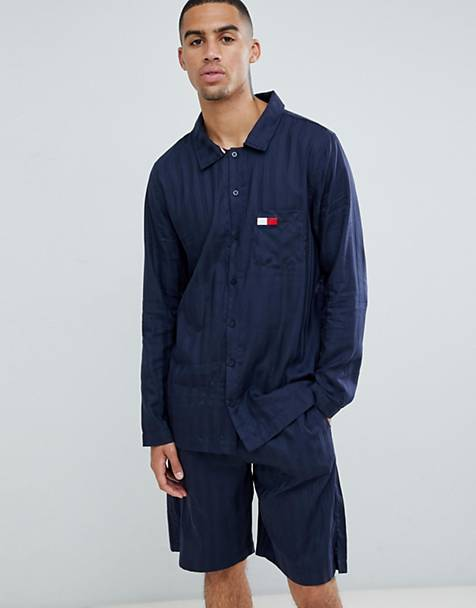 Tommy Hilfiger matt and shine stripe shirt in navy