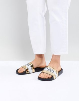 Tommy Hilfiger Metallic Pool Sliders With Logo Tape