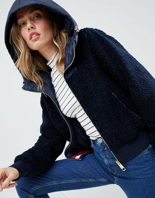 Image 1 of Tommy Hilfiger Reversible Teddy Jacket With Hood