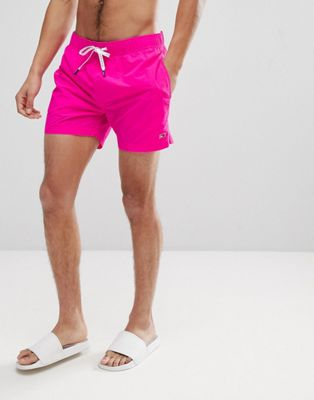 Tommy Hilfiger Short Drawstring Flag Logo Swim Shorts in Bright Pink