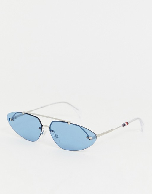 Tommy Hilfiger slim oval sunglasses in blue