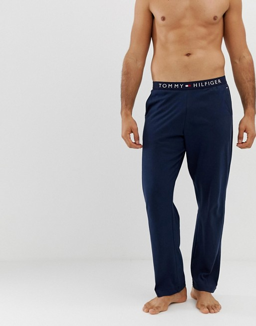 Image 1 of Tommy Hilfiger soft cotton lounge joggers with comfort logo waistband in navy