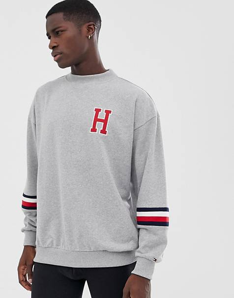 Tommy Hilfiger Sweatshirt With Forearm Stripe and H Logo in Gray