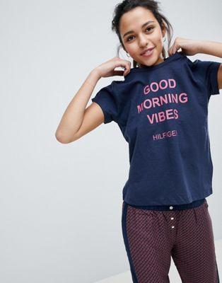 Tommy Hilfiger - T-shirt met Good Morning Vibes-print