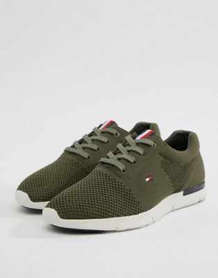 Tommy Hilfiger Tobias Knit Trainer in Olive