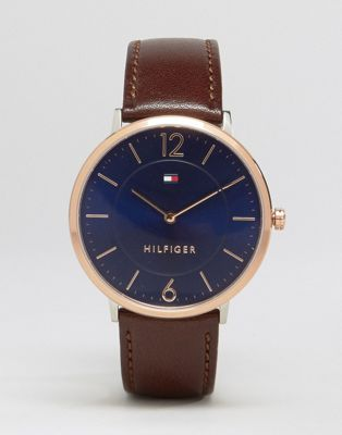 Tommy Hilfiger Ultra Slim Brown Leather Watch With Gold Dial 1710354