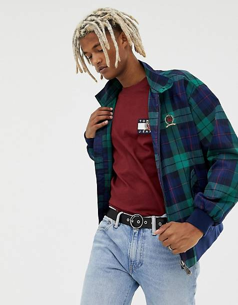 Tommy Jeans 6.0 limited capsule harrington jacket in green and navy plaid with crest back logo