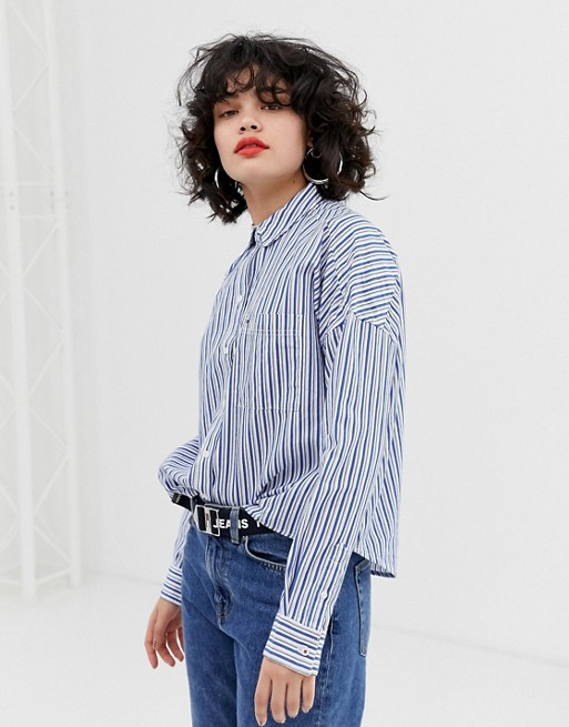 Image 1 of Tommy Jeans boyfriend stripe shirt