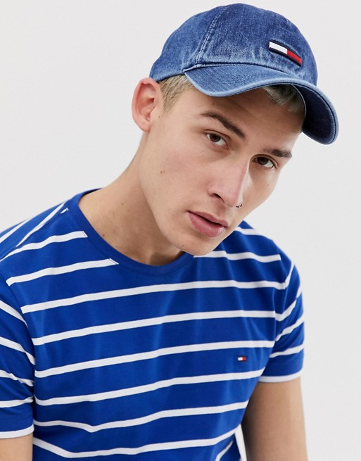 Image 1 of Tommy Jeans denim baseball cap with flag logo in mid wash